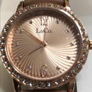 L&CO. Timepiece watch tan with rose gold tint
